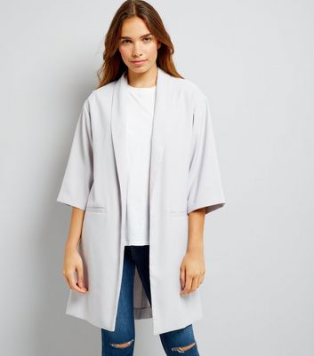 Grey Satin Crepe Longline Kimono New Look