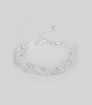 Silver Diamante Twisted Bracelet New Look