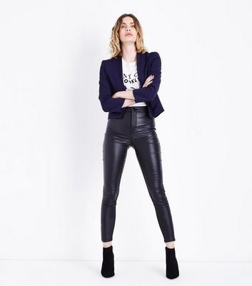 Navy Crepe Blazer New Look