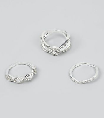 3 Pack Silver Diamante Rings New Look