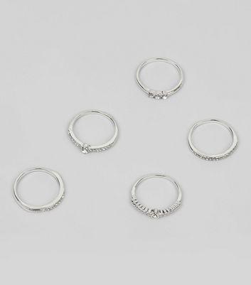 5 Pack Silver Diamante Rings New Look