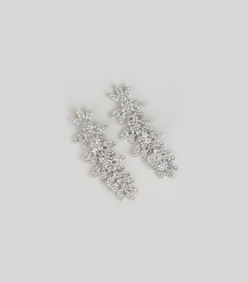 Silver Statement Leaf Earrings New Look