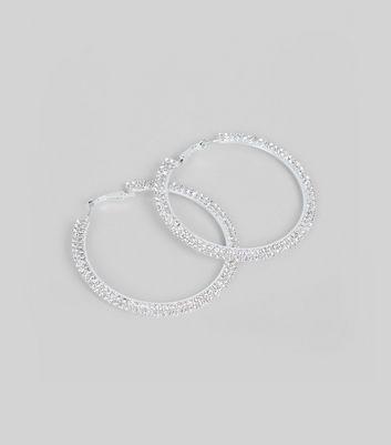 Silver Diamante Hoop Earrings New Look