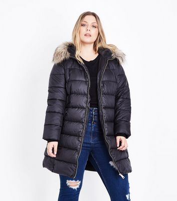 Curves Black Longline Belted Puffer Jacket New Look