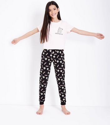 Teens Pink I Am Eggshausted Slogan Pyjama Set New Look