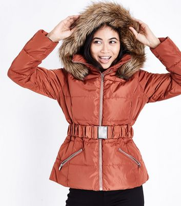 Petite Rust Belted Puffer Jacket New Look