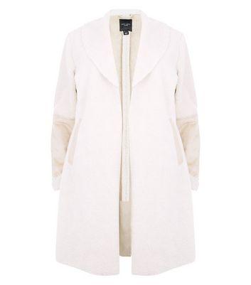 Curves Cream Faux Shearling Longline Coat New Look