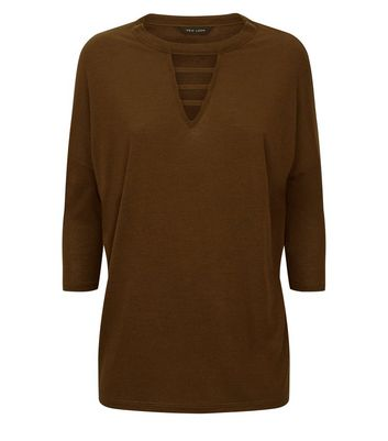 Brown Lattice Front 3/4 Sleeve Top New Look