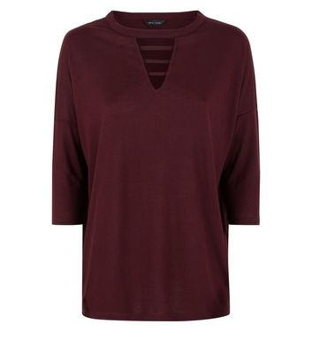 Burgundy Lattice Front 3/4 Sleeve Top New Look
