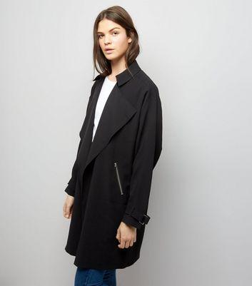 Black Wrap Front Coat New Look