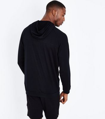 Black Half Zip Sports Hoodie New Look