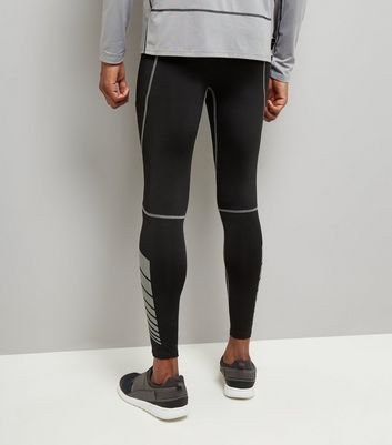 Black Second Skin Contrast Stitch Sports Leggings New Look