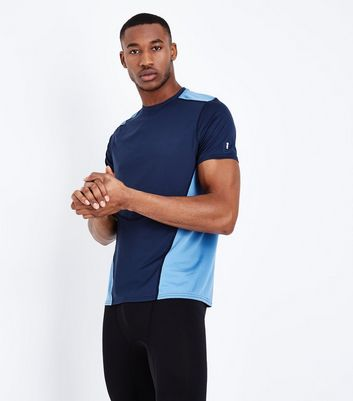 Navy Contrast Panel Sports T-Shirt New Look