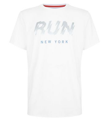 White Run Slogan Front T-Shirt New Look