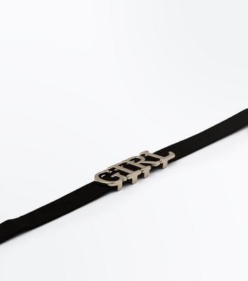 Black and Gold 'Girl' Letter Choker New Look