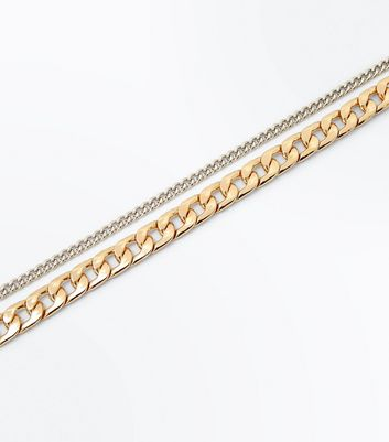 2 Pack Gold and Silver Chain Chokers New Look