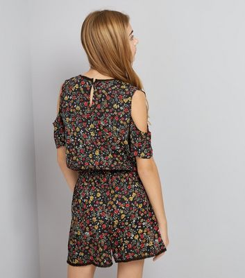Teens Black Floral Lace Trim Playsuit New Look