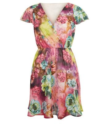 Mela Multicoloured Floral Print Wrap Front Dress New Look