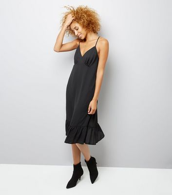 Black Sheer Frill Trim Slip Dress New Look