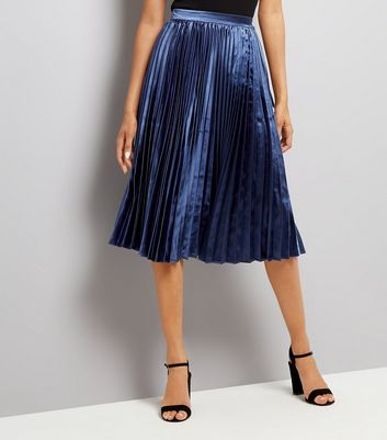Navy Pleat Midi Skirt New Look