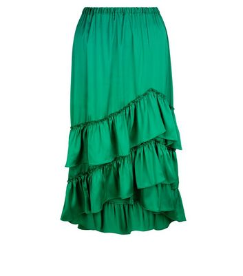 Green Satin Tiered Frill Dip Hem Midi Skirt New Look