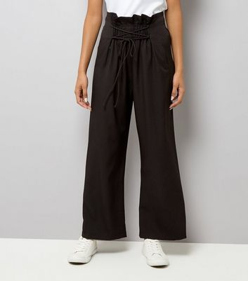 Black Lace Up Paperbag Waist Wide Leg Trousers New Look