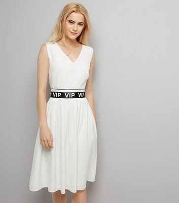 White VIP Belt V Neck Dress New Look