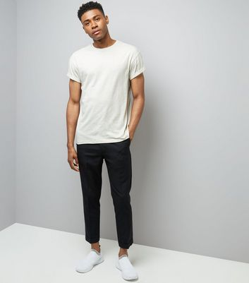 Pale Grey Cotton Rolled Sleeve T-Shirt New Look