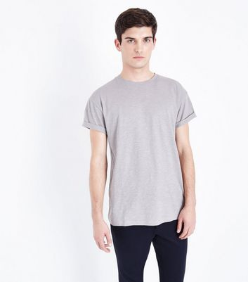 Light Grey Rolled Sleeve T-Shirt New Look