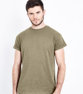 Khaki Cotton Rolled Sleeve T-Shirt New Look