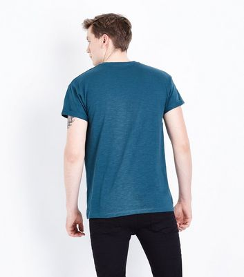 Dark Green Rolled Sleeve T-Shirt New Look
