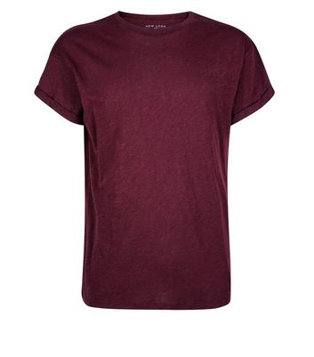Burgundy Rolled Sleeve T-Shirt New Look