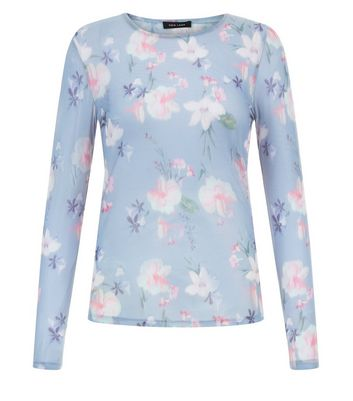 Blue Floral Print Mesh Long Sleeve Top New Look