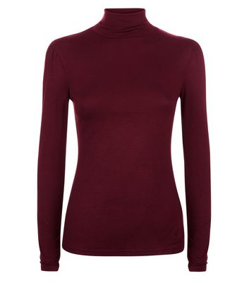Burgundy Roll Neck Top New Look