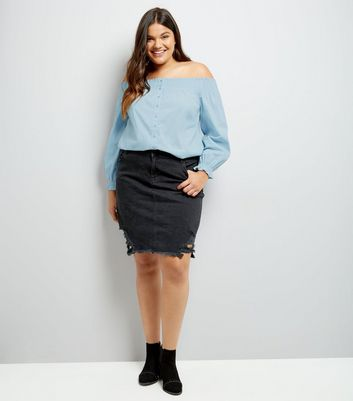Curves Blue Button Front Bardot Neck Top New Look