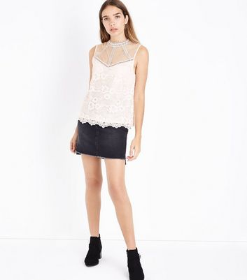 Shell Pink Lace Sheer Yoke Vest Top New Look