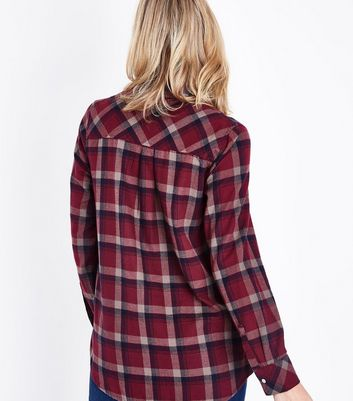 Maternity Red Check Pocket Front Shirt New Look