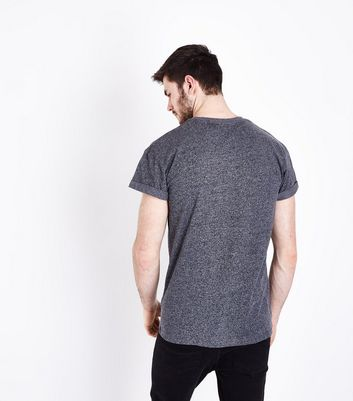 Grey Rolled Sleeve T-shirt New Look