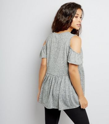Maternity Grey Cold Shoulder Peplum Top New Look