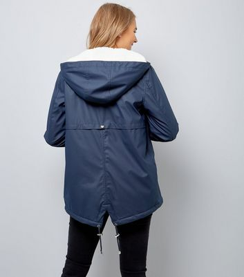 Maternity Navy Borg Lined Anorak New Look