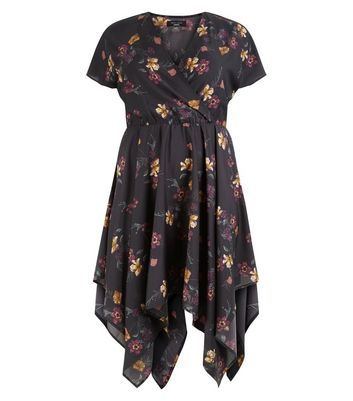 Curves Black Floral Hanky Hem Dress New Look