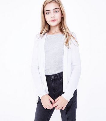Teens White Lace Back Cardigan New Look