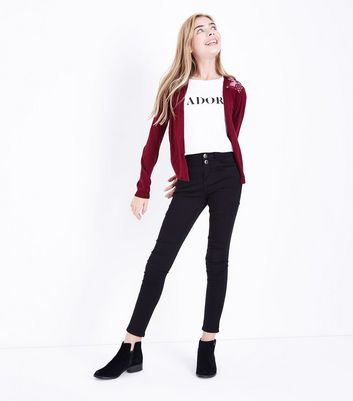 Teens Burgundy Lace Back Cardigan New Look