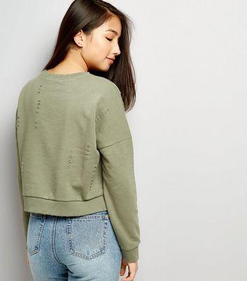 Teens Khaki Ripped Sweater New Look