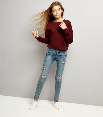 Teens Burgundy Ripped Sweatshirt New Look