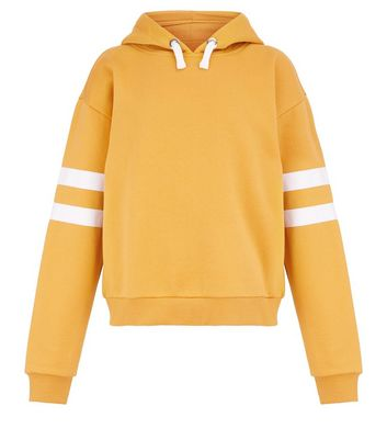Teens Yellow Stripe Sleeve Hoodie New Look