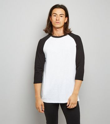 Black 3/4 Raglan Sleeve Top New Look