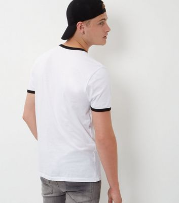 White Contrast Trim T-Shirt New Look