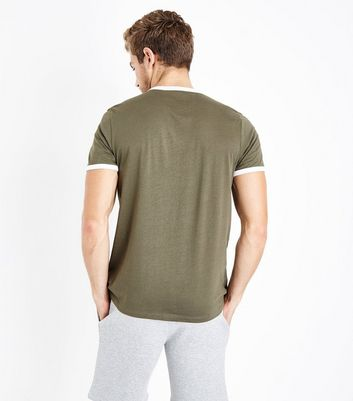 Khaki Contrast Trim Ringer T-Shirt New Look