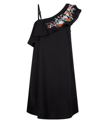 Blue Vanilla Black Floral Embroidered One Shoulder Dress New Look